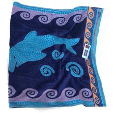 Asciugamano Telo Mare 100% Cotone Mosaic Dolphins 86x160 Cm 6220491860356