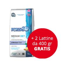 Cibo per Cani Forza10 Medium Diet al Merluzzo 12 kg + 2 lattine da 400 gr GRATIS