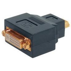 HDMI - DVI-D, HDMI, DVI-D, Maschio / femmina, Nero, Oro