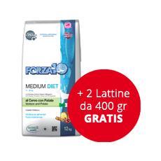 Cibo per Cani Forza10 Medium Diet al Cervo con Patate 12 kg + 2 lattine da 400 gr GRATIS