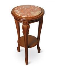 Tavolino Porta Telefono Mod. 377 Base In Faggio Con Piano Agglomerato Di Marmo Colore Noce Cod. 04105