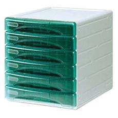 Cassettiera Portadocumenti 6 cassetti Colore Verde Trasparente - Modello Olivia