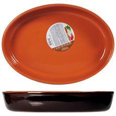 Pirofila Ovale Ceramica Marrone 35x25x7 Strumenti Da Cucina