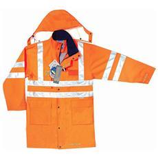 Parka Ad Alta Visibilità In Poliestere Oxford Traspirante Colore Arancio Taglia S