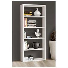 Libreria In Aglomerato Placcato Frassino Bianco L89 P30 H218