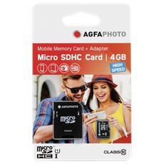 MicroSDHC da 4GB High Speed Class 10 + adattatore