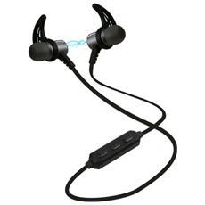 Auricolari magnetici con lacci da collo Bluetooth 4.2 con tasto alla risposta e comandi - Nero