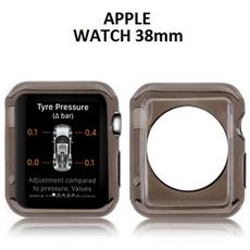 Custodia Gel Tpu Silicone Per Apple Watch 38mm Colore Nero Trasparente