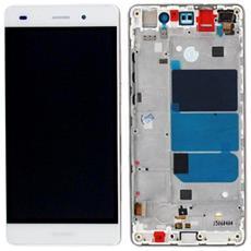 Lcd Touch Screen Vetro E Cover Frame Completo Bianco Per Ascend P8 Lite