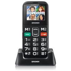 """Amico Sicuro Senior Phone Display 1.77"""" Micro SD Bluetooth con Tasti Grandi + SOS Fotocamera Colore Nero"""