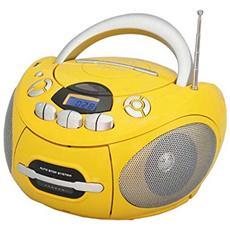 Lettore CD / MP3 Portatile Bluetooth Radio FM PLL Ingresso USB Colore Giallo
