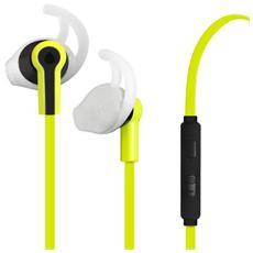 Auricolare Stereo Sport Con Gommino E Aggancio In-Ear Ergonomico +tasto Risp Lime