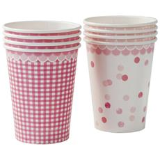8 Bicchieri Di Carta Rosa Pink Party Taglia Unica