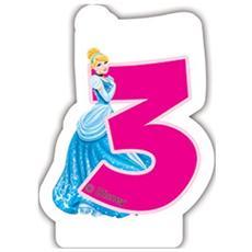 82896 - Candelina Numerale Disney Princess Numero 3, Rosa