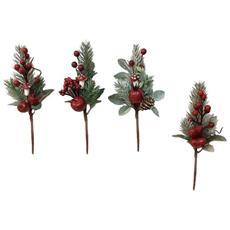 4 Pezzi Rametti Natalizi Per Decorazione Albero Con Bacche Rosse Art. 410011