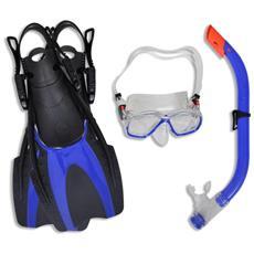 Set Per Immersioni Maschera Subacquea Blu Pinne I Bambini 30 - 34