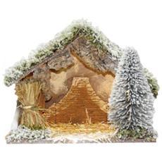 Capanna con Luce e Neve per Decorazioni Natalizie 32 x 16 x 24 cm