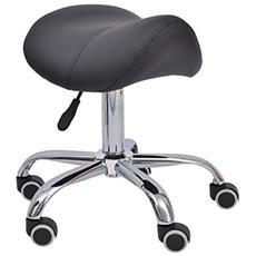 Sgabello a sella per parrucchiere e salone estetico altezza regolabile con ruote crema / nero nero