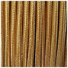1 Mt Cavo Elettrico Tondo Rotondo Stile Vintage Rivestito In Tessuto Colorato Oro H03vv-f Sezione 2x0,75 Per Lampadari, Lampade, Abat Jour, Design. Made In Italy