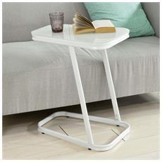 Tavolino Consolle, tavolino Da Divano, supporto Tavolino, piano In Vetro Temperato, Bianco Fbt43-w