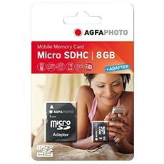 MicroSDHC da 8 GB High Speed Class 10 + Adattatore