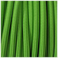 1 Mt Cavo Elettrico Tondo Rotondo Stile Vintage Rivestito In Tessuto Colorato Verde Lime Kiwi H03vv-f Sezione 2x0,75 Per Lampadari, Lampade, Abat Jour, Design. Made In Italy