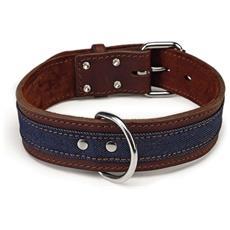 Collare Per Cani Denim In Pelle Marrone 45 Mm 52-61 Cm 745946