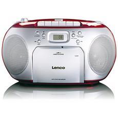 Lettore Radio FM / CD / Cassette Display LCD Colore Rosso / Silver
