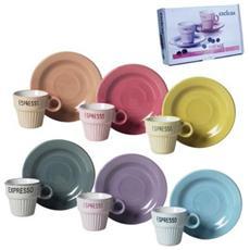 Servizio 6 Tazzine da Caffè con Piattino e Cucchiaino Vintage