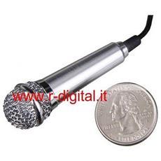 Microfono Mini In Metallo Jack 3.5 Mm + Supporto Msn Skype Icq Karaoke Per Pc Computer Fisso Notebook Netboo