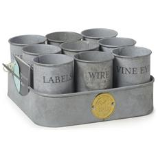 Vassoio con porta attrezzi: gubbins pots - galvanized
