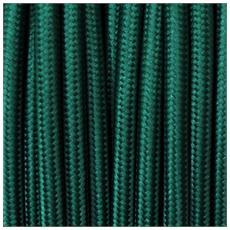 50 Mt Cavo Elettrico Tondo Rotondo Stile Vintage Rivestito In Tessuto Colorato Verde Petrolio H03vv-f Sezione 2x0,75 Per Lampadari, Lampade, Abat Jour, Design. Made In Italy