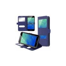 Custodia Per Meizu M5s - Flip Orizzontale Similpelle Con Interno In Tpu Silicone E Doppia Finestra Id Colore Blu Scuro