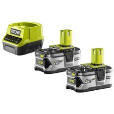 Confezione Da 2 Batterie Ryobi 18v Oneplus 4.0ah - Caricabatterie 2.0ah Veloce Agli Ioni Di Litio Rc18120-240