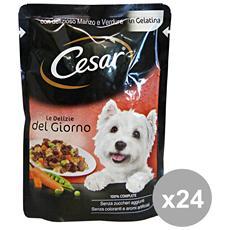 Set 24 Le Delizie Bustine 100 Gr. Manzo-verdure Cibo Per Cani