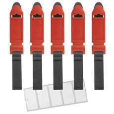 Ltc original kit da 5 chiusure a strappo in velcro con etichette, red