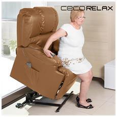 Poltrona Relax Alzapersone Con Massaggio Cecorelax Camel 6010