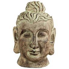 Testa Di Buddha In Gesso Dipinto Finitura Anticata L24xpr23xh40 Cm