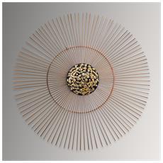 Sole Quadro In Metallo, Scultura Da Parete, Realizzato Totalmente A Mano Con Tecniche Artigianali