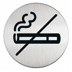pittogramma ø 8,3cm 'zona non fumatori' in acciaio