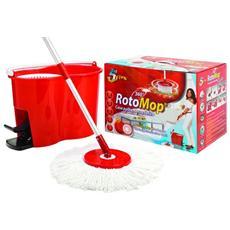 Mop Moscio Rotante In Microfibra + Secchio Strizzante Pulizia Casa 005016