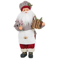 Statuetta Babbo Natale Cuoco Con Cesta In Feltro 33cm Addobbi Decoro