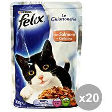 Set 20 Le Ghiottonerie Salmone 100 Gr. Bustina Cibo Per Gatti