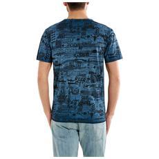 T-shirt Uomo Reversibile Fantasia Blu M
