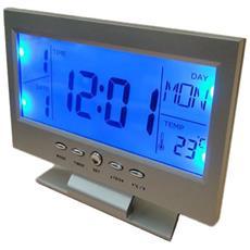 Sveglia Da Tavolo 8082 Digitale Allarme Lcd Retroilluminato Blu Touch Con Temperatura Data Ora Calendario