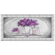 Quadro Su Tela Prince 65x135 Cm Purple Flowers Silver