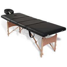 Lettino Pieghevole Da Massaggio Nero 4 Zone Con Telaio Legno