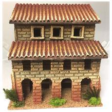 Casa Con Porticato 22x15xh19cm Decoro Presepe Natale Statuine