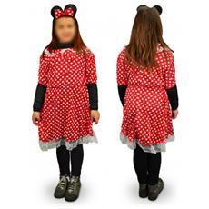 538186 Costume Di Carnevale Travestimento Topina A Pois Da Bambina 3 A 12 Anni - 6/8 Anni