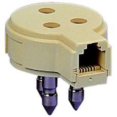 Adattatore Telefonico Tripolare A Presa Modulare Plug Rj11 6 Poli 2 Contatti